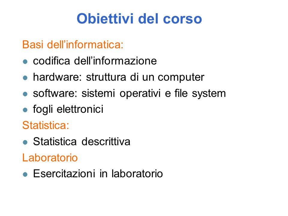 Obiettivi del corso Basi dell'informatica: codifica dell'informazione