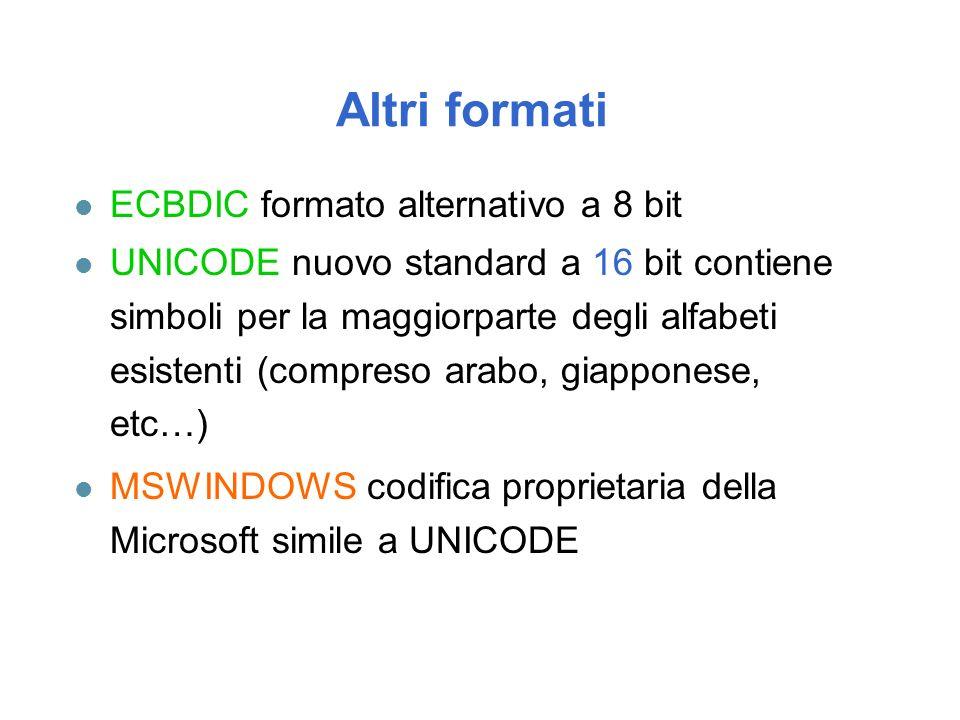 Altri formati ECBDIC formato alternativo a 8 bit