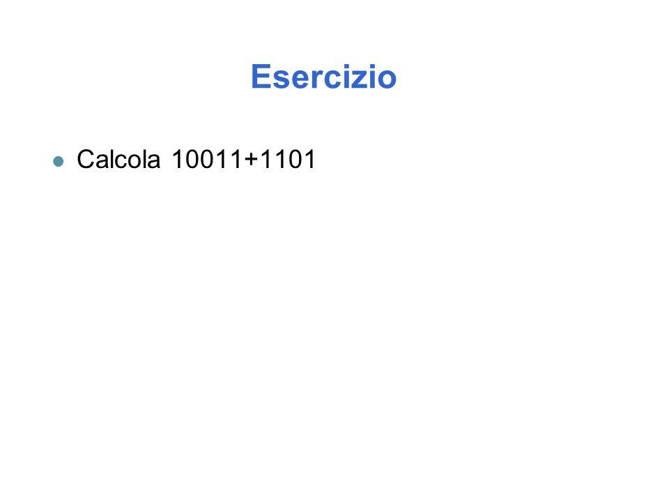 Esercizio Calcola 10011+1101