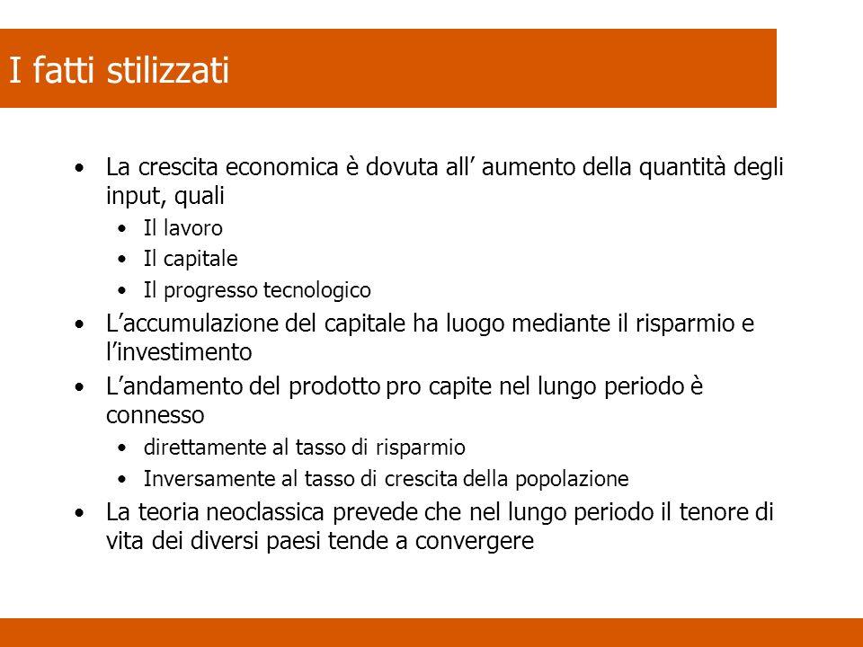 I fatti stilizzati La crescita economica è dovuta all' aumento della quantità degli input, quali. Il lavoro.