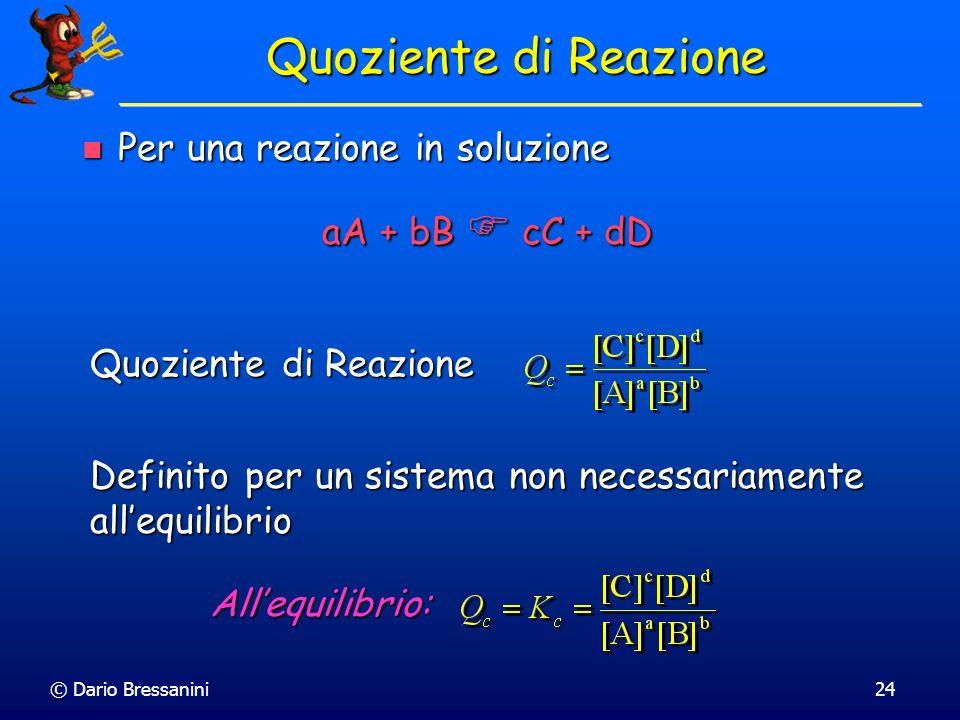 Quoziente di Reazione Per una reazione in soluzione aA + bB  cC + dD
