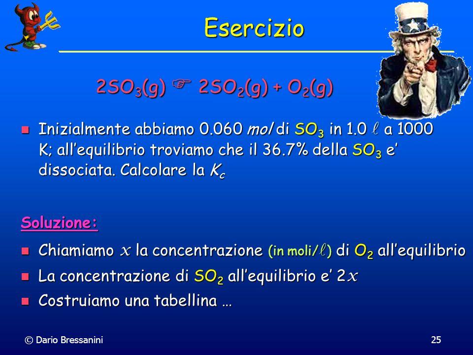 Esercizio 2SO3(g)  2SO2(g) + O2(g)