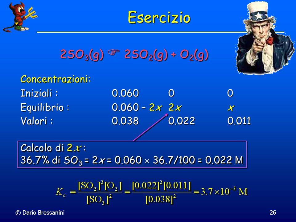 Esercizio 2SO3(g)  2SO2(g) + O2(g) Concentrazioni: