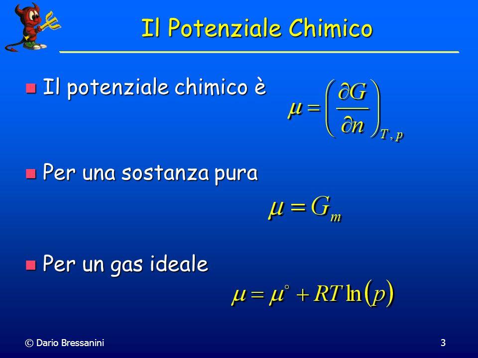 Il Potenziale Chimico Il potenziale chimico è Per una sostanza pura