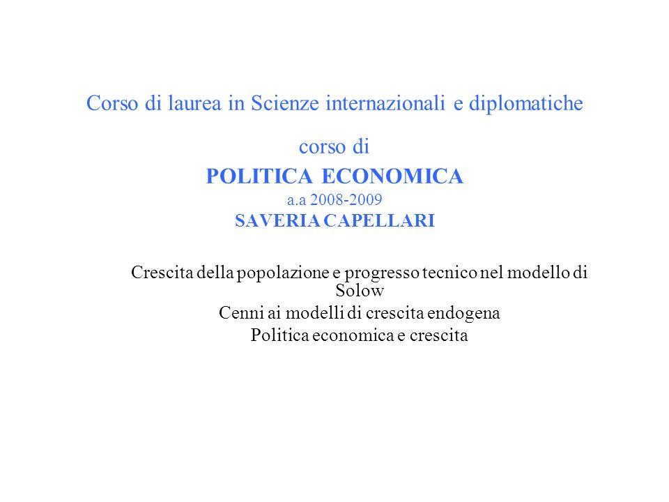 Corso di laurea in Scienze internazionali e diplomatiche corso di POLITICA ECONOMICA a.a 2008-2009 SAVERIA CAPELLARI