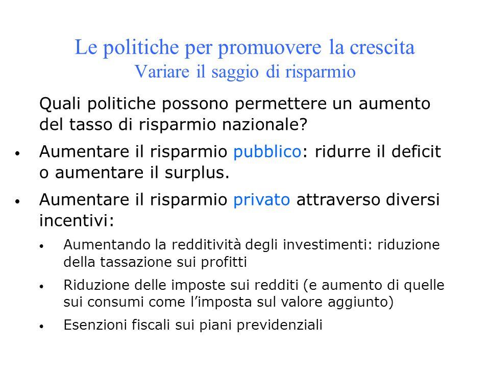 Le politiche per promuovere la crescita Variare il saggio di risparmio