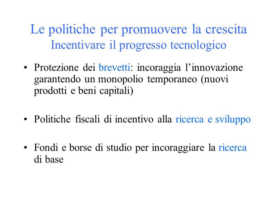 Le politiche per promuovere la crescita Incentivare il progresso tecnologico