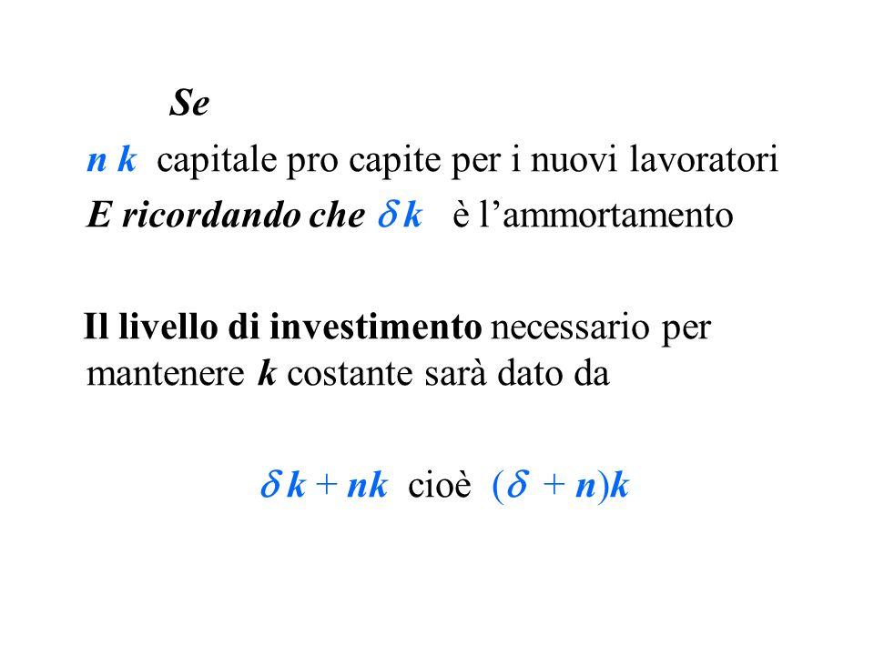 Se n k capitale pro capite per i nuovi lavoratori. E ricordando che  k è l'ammortamento.
