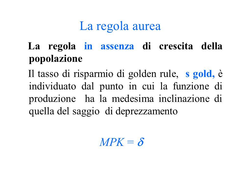 La regola aurea La regola in assenza di crescita della popolazione.