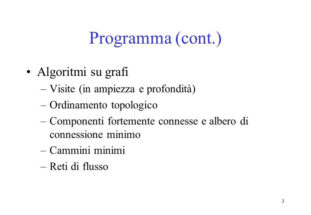 Programma (cont.) Algoritmi su grafi Visite (in ampiezza e profondità)