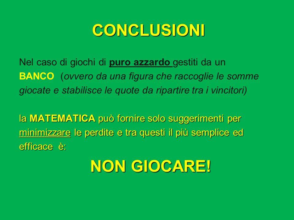 CONCLUSIONI NON GIOCARE!