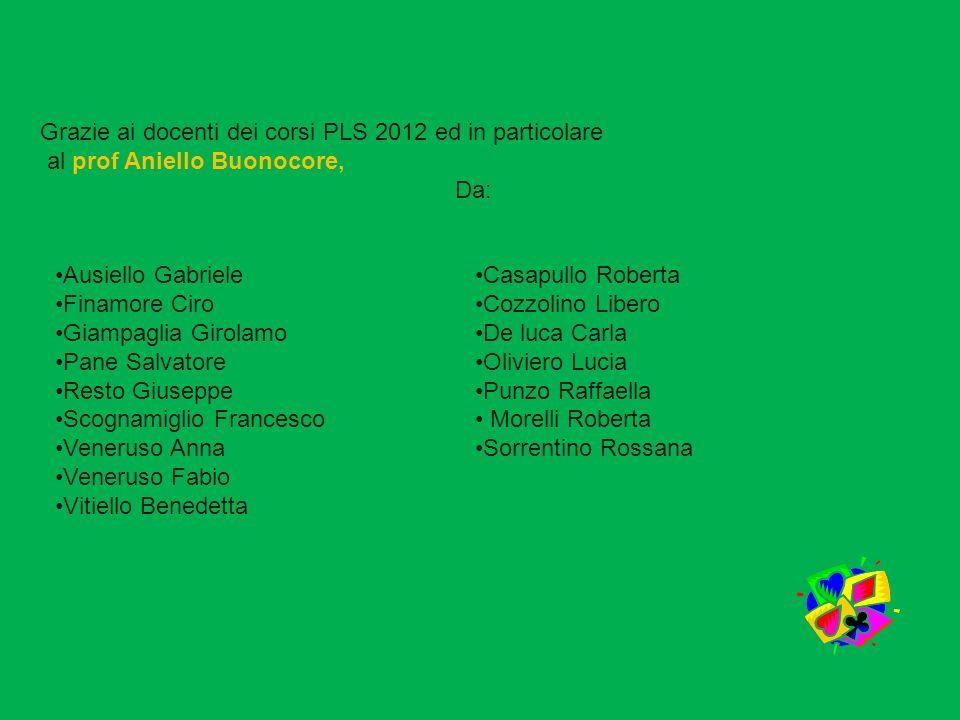Grazie ai docenti dei corsi PLS 2012 ed in particolare