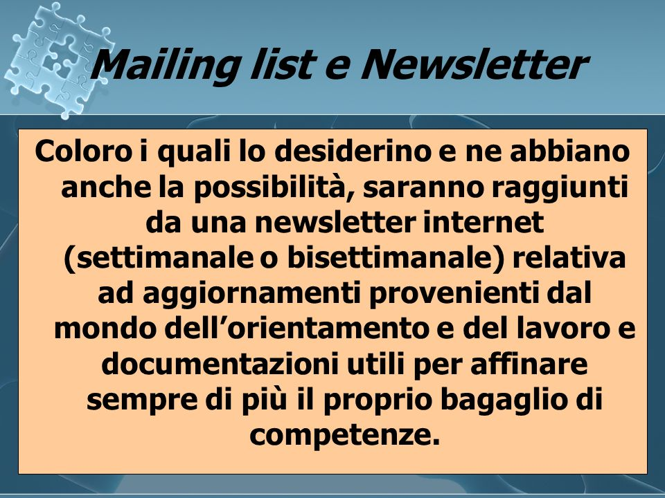 Mailing list e Newsletter