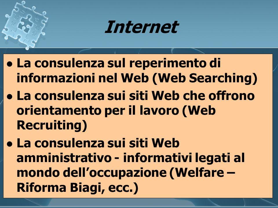 Internet La consulenza sul reperimento di informazioni nel Web (Web Searching)