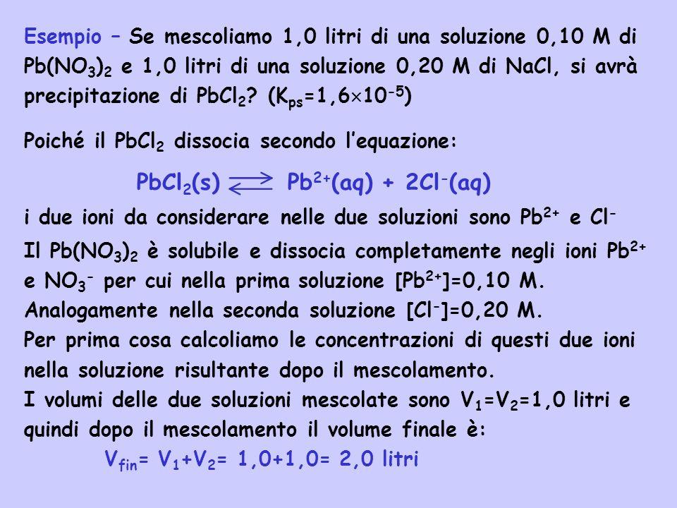 PbCl2(s) Pb2+(aq) + 2Cl-(aq)