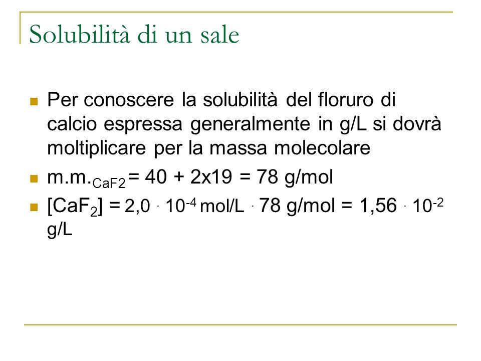 Solubilità di un sale Per conoscere la solubilità del floruro di calcio espressa generalmente in g/L si dovrà moltiplicare per la massa molecolare.