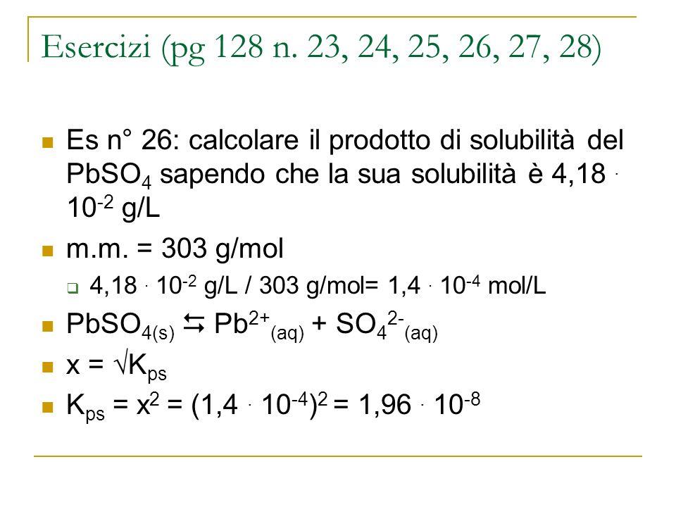 Esercizi (pg 128 n. 23, 24, 25, 26, 27, 28) Es n° 26: calcolare il prodotto di solubilità del PbSO4 sapendo che la sua solubilità è 4,18 . 10-2 g/L.