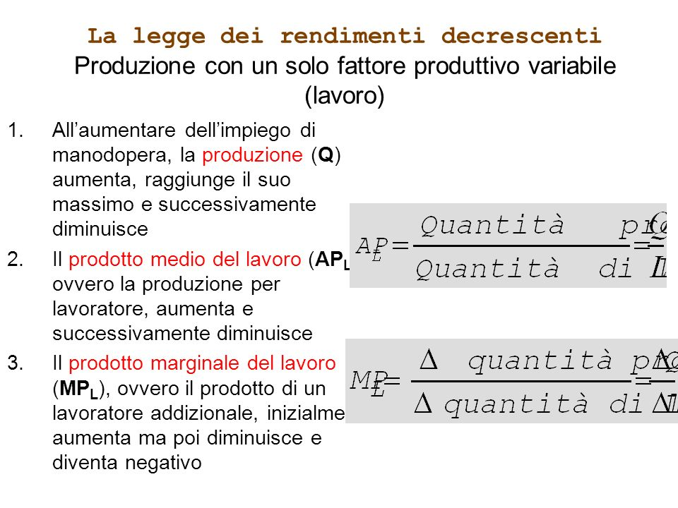 La legge dei rendimenti decrescenti Produzione con un solo fattore produttivo variabile (lavoro)