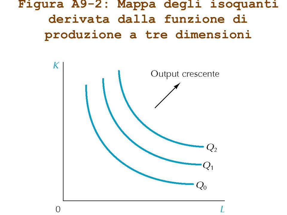 Figura A9-2: Mappa degli isoquanti derivata dalla funzione di produzione a tre dimensioni