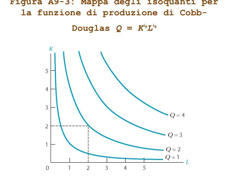 Figura A9-3: Mappa degli isoquanti per la funzione di produzione di Cobb-Douglas Q = K½L½