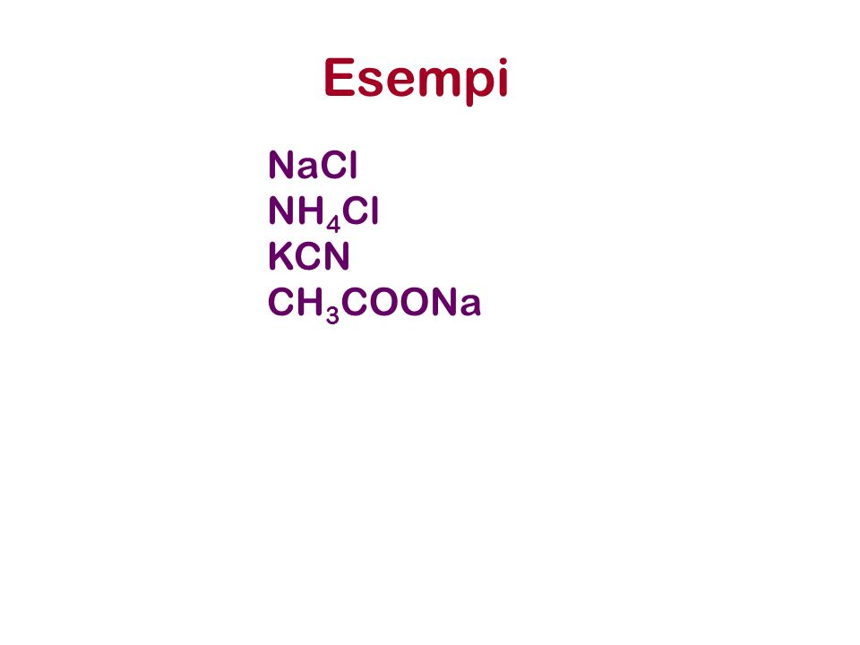 Esempi NaCl NH4Cl KCN CH3COONa