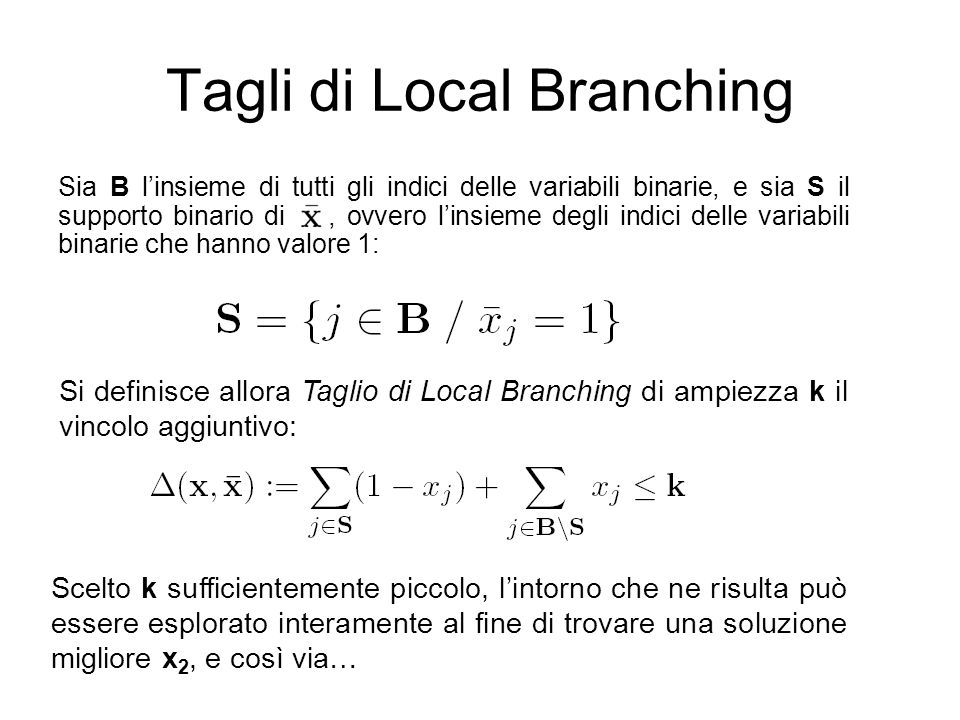 Tagli di Local Branching