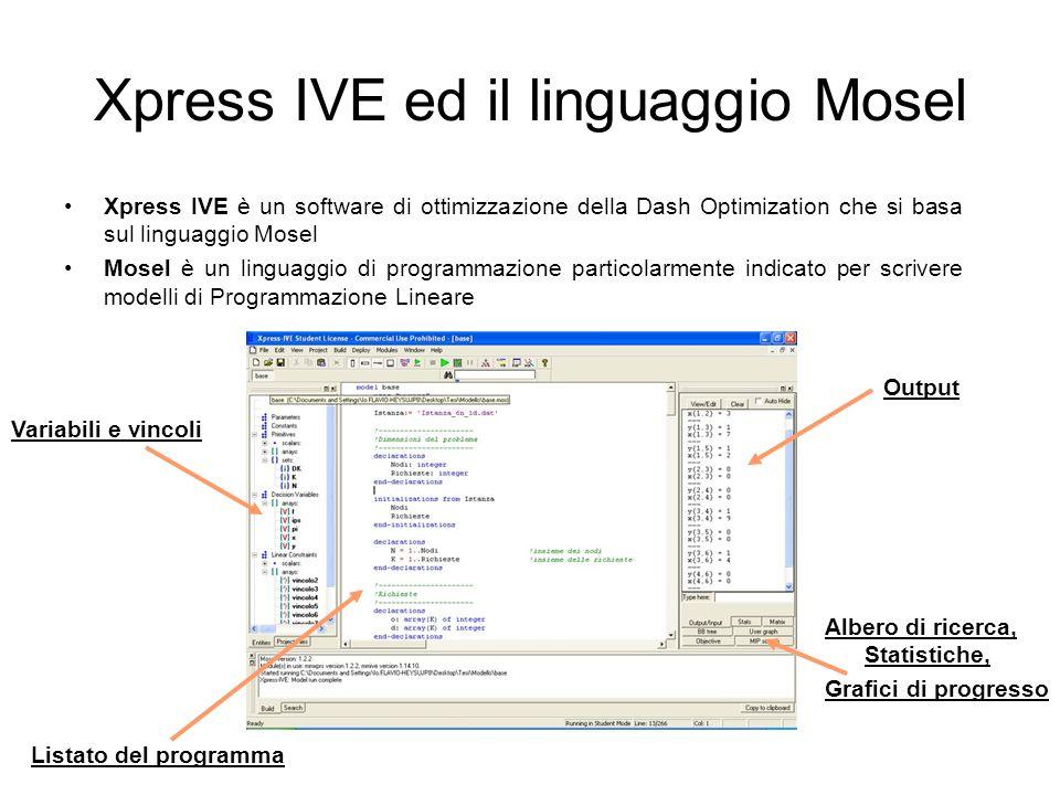 Xpress IVE ed il linguaggio Mosel
