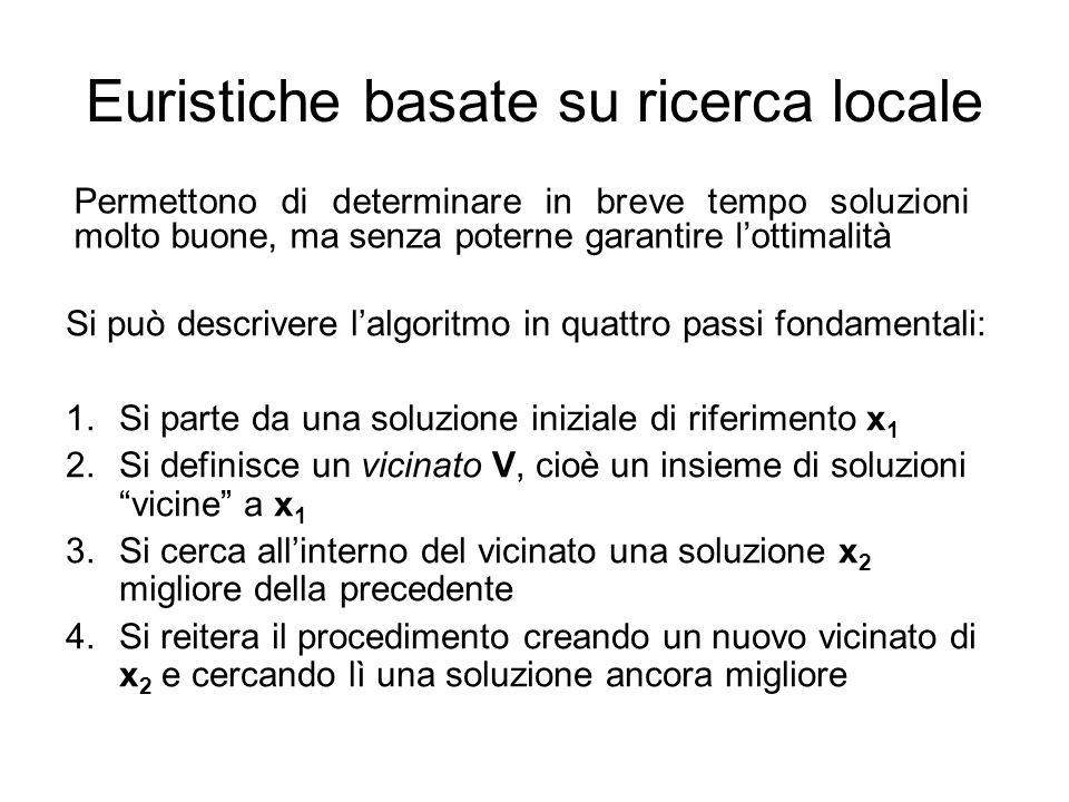 Euristiche basate su ricerca locale