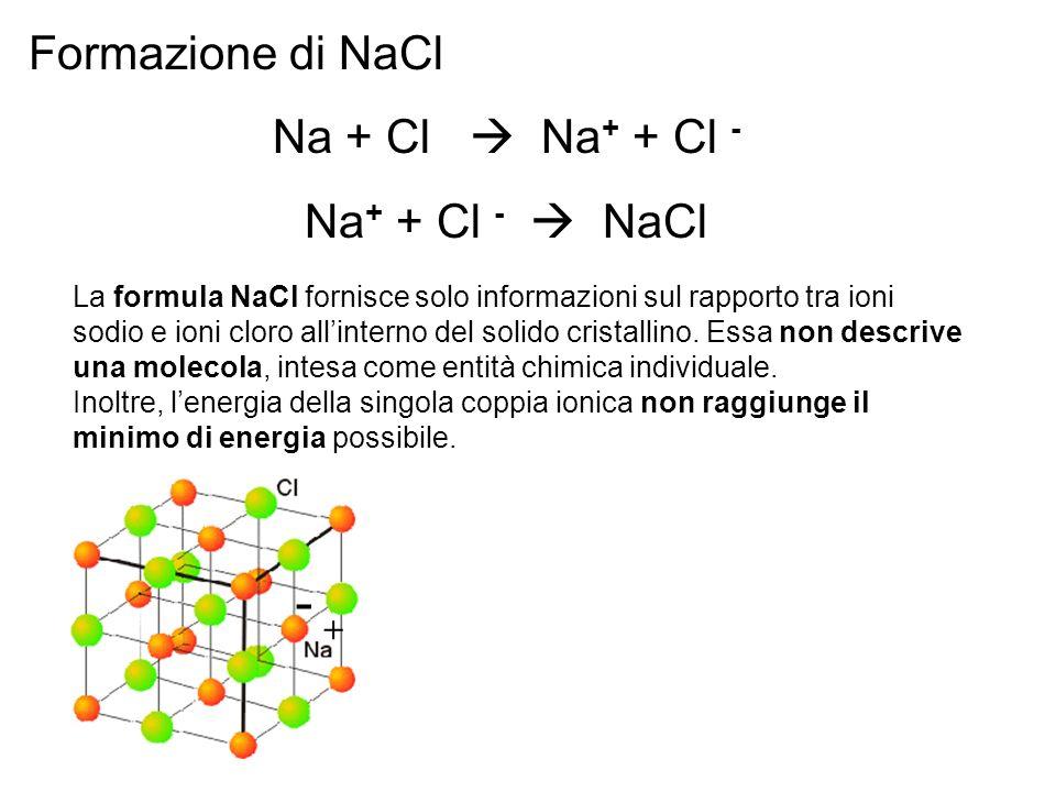 - Formazione di NaCl Na + Cl  Na+ + Cl - Na+ + Cl -  NaCl +