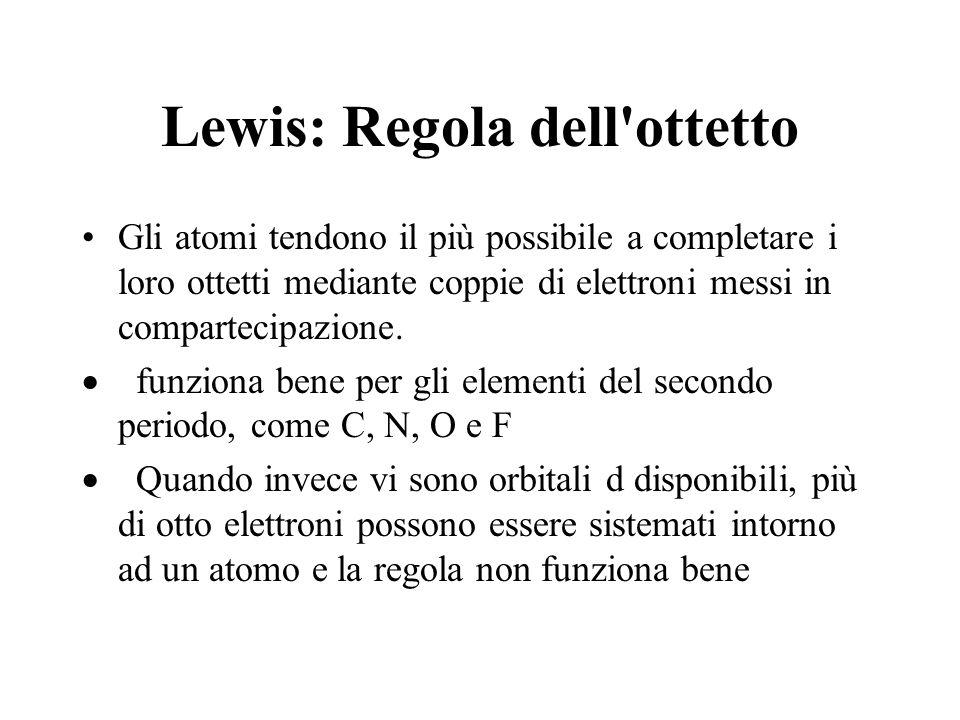 Lewis: Regola dell ottetto