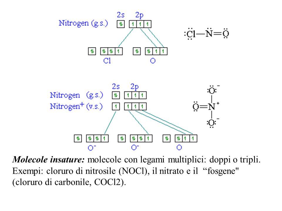 Molecole insature: molecole con legami multiplici: doppi o tripli