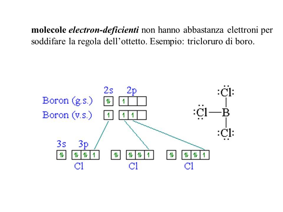 molecole electron-deficienti non hanno abbastanza elettroni per soddifare la regola dell'ottetto.