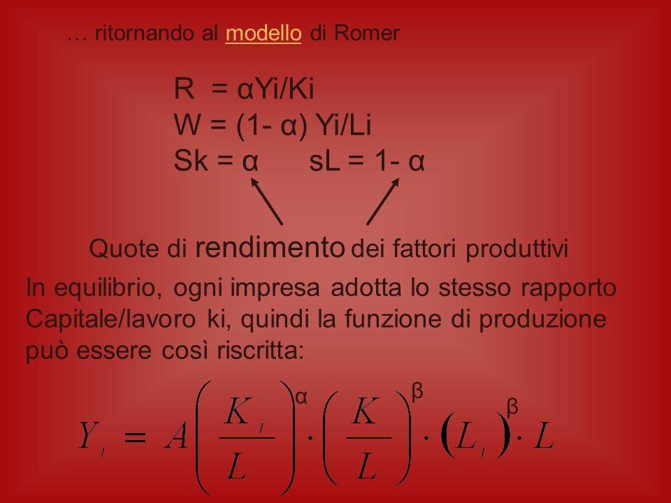 R = αYi/Ki W = (1- α) Yi/Li Sk = α sL = 1- α
