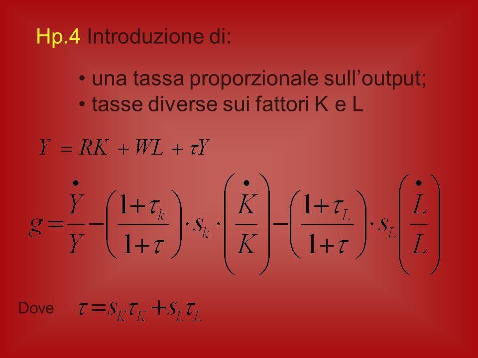 una tassa proporzionale sull'output; tasse diverse sui fattori K e L