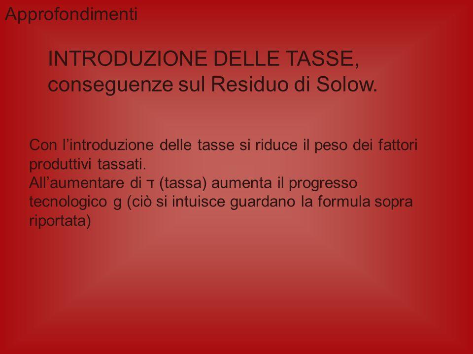 INTRODUZIONE DELLE TASSE, conseguenze sul Residuo di Solow.