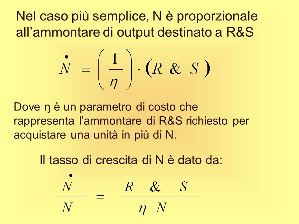 Nel caso più semplice, N è proporzionale all'ammontare di output destinato a R&S