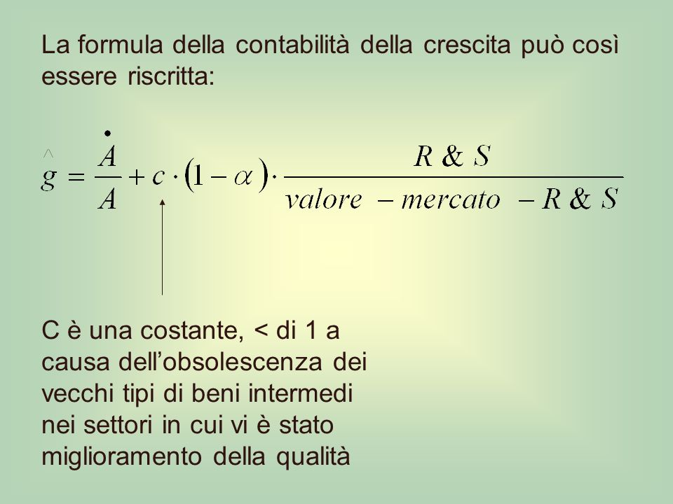 La formula della contabilità della crescita può così essere riscritta: