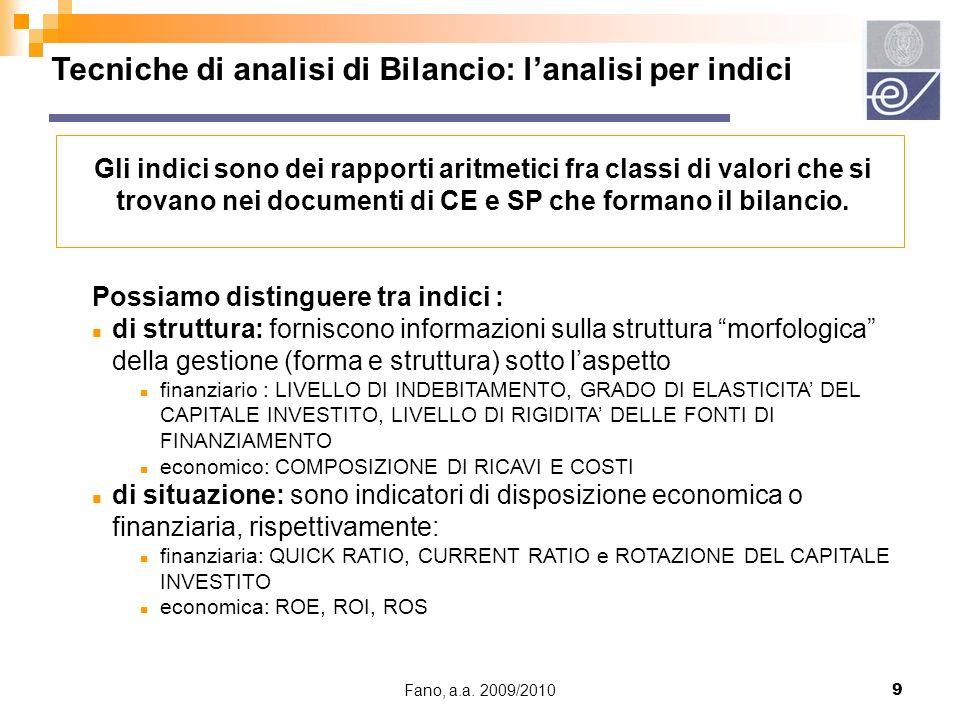Tecniche di analisi di Bilancio: l'analisi per indici