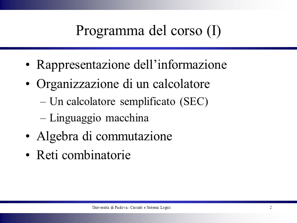 Programma del corso (I)