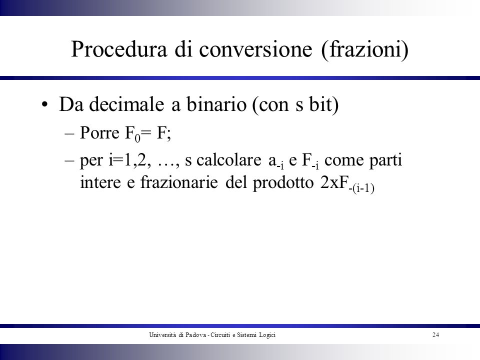 Procedura di conversione (frazioni)