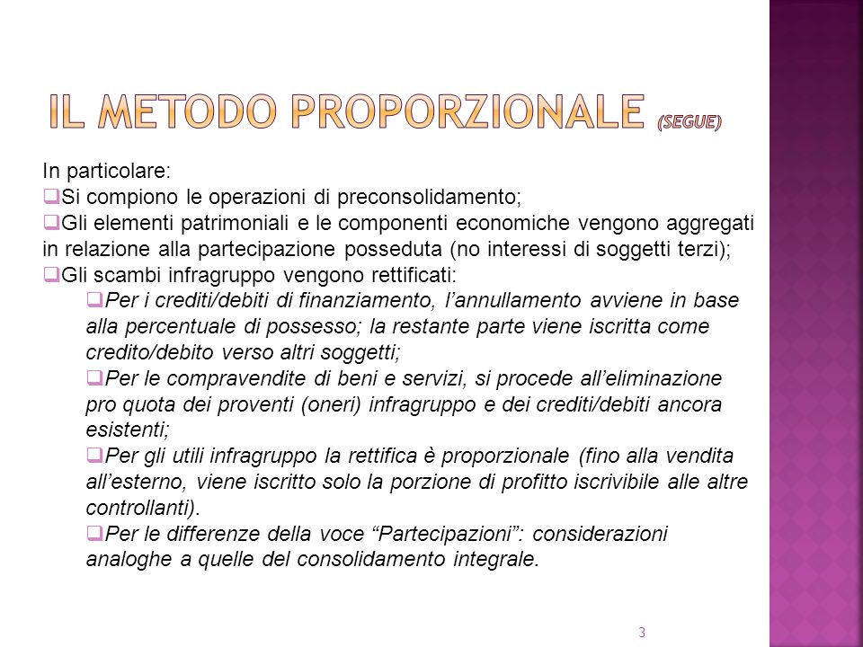 IL METODO PROPORZIONALE (segue)