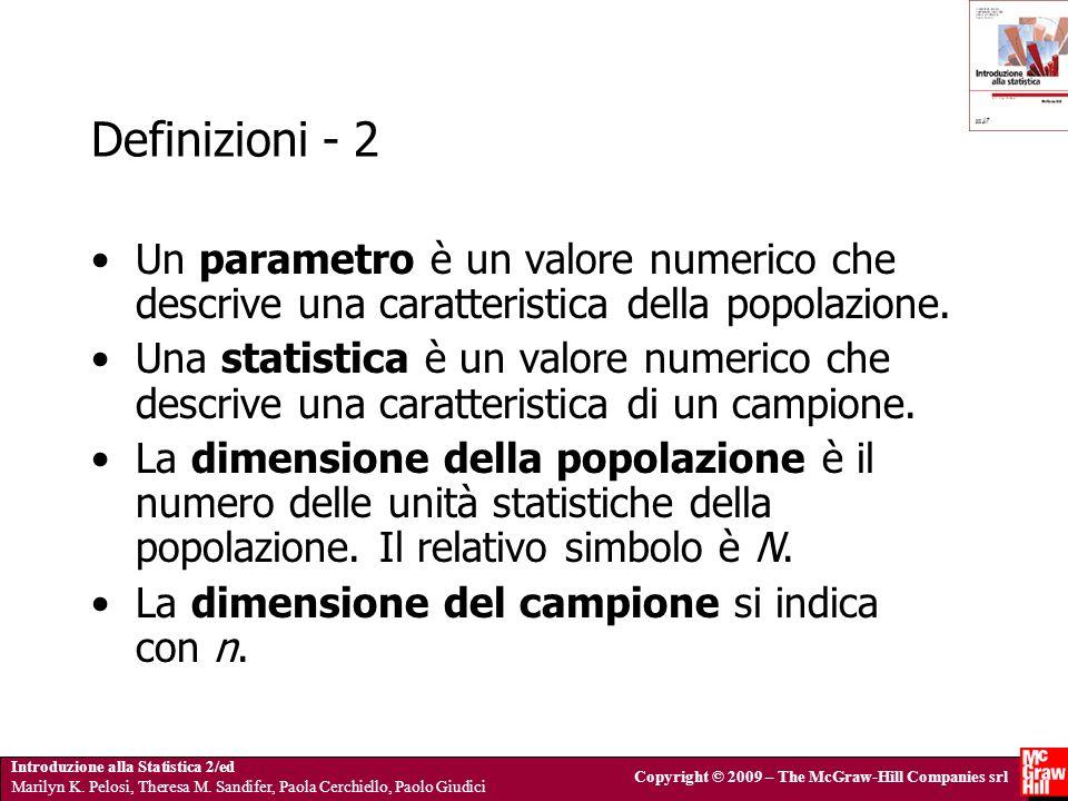 Definizioni - 2 Un parametro è un valore numerico che descrive una caratteristica della popolazione.
