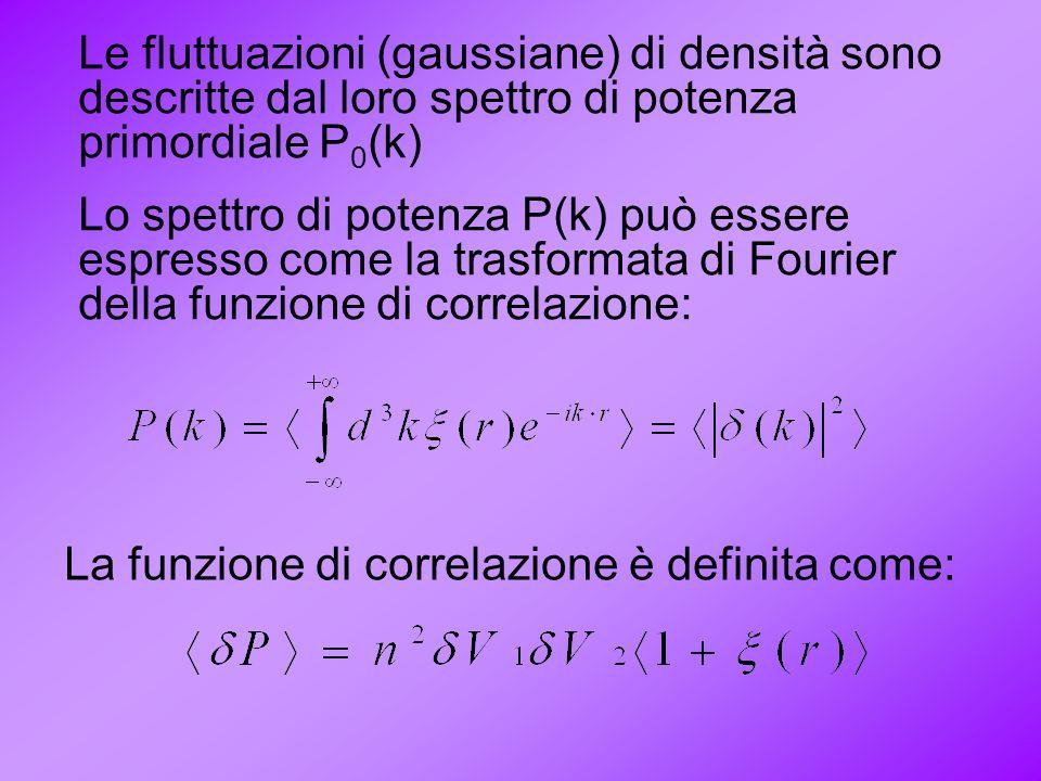 Le fluttuazioni (gaussiane) di densità sono descritte dal loro spettro di potenza primordiale P0(k)