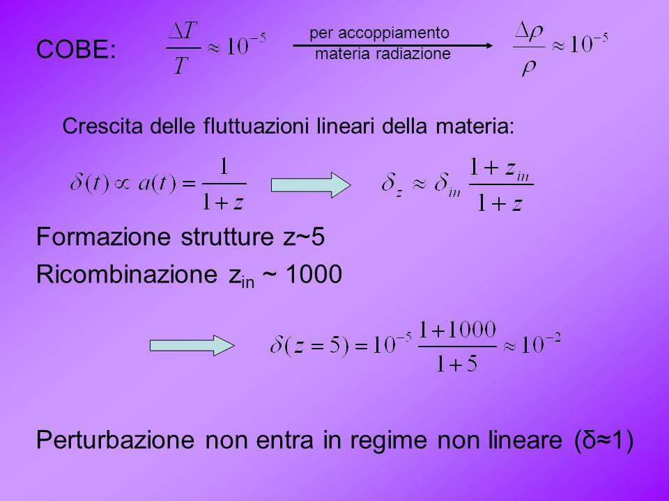 Formazione strutture z~5 Ricombinazione zin ~ 1000