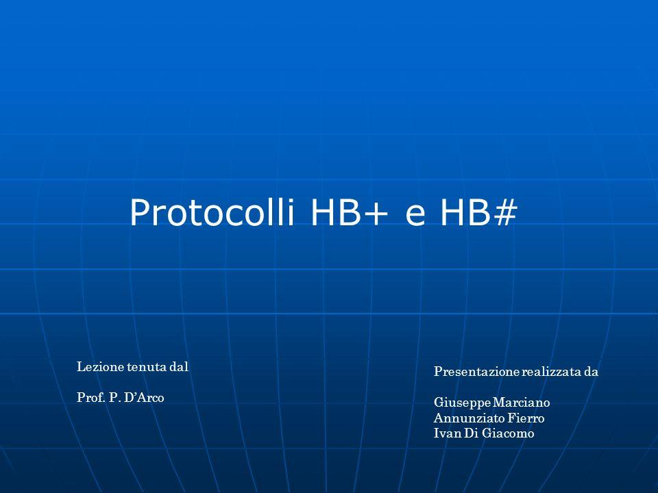 Protocolli HB+ e HB# Lezione tenuta dal Presentazione realizzata da
