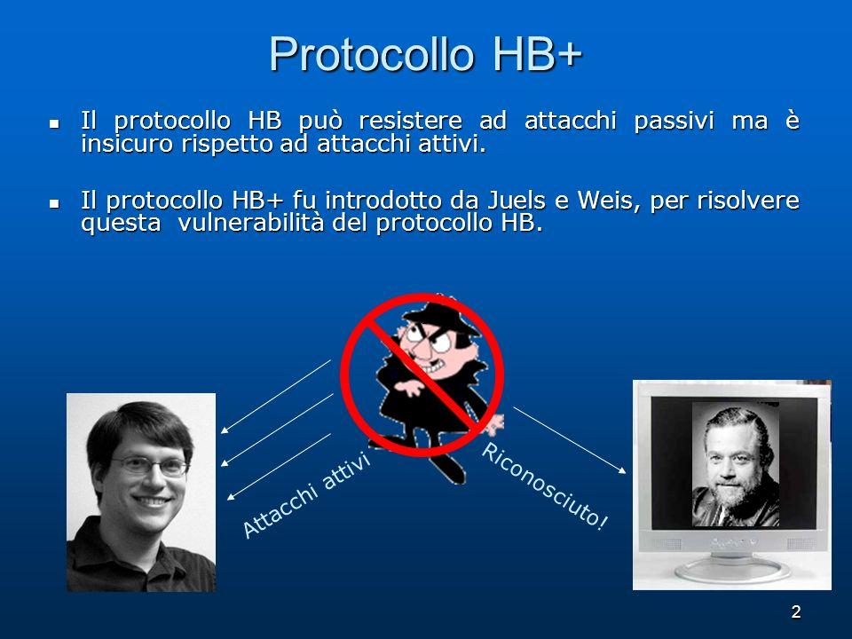 Protocollo HB+ Il protocollo HB può resistere ad attacchi passivi ma è insicuro rispetto ad attacchi attivi.
