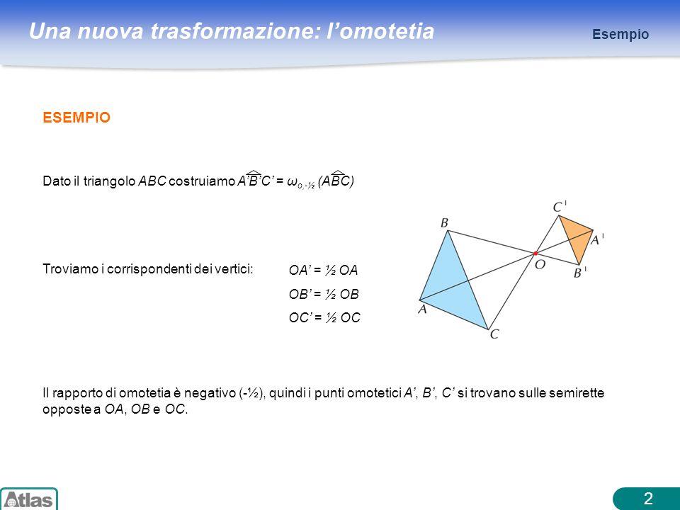 Esempio ESEMPIO. Dato il triangolo ABC costruiamo A'B'C' = ωo,-½ (ABC) OA' = ½ OA. OB' = ½ OB. OC' = ½ OC.