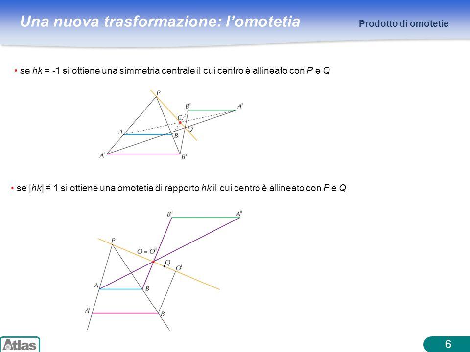 Prodotto di omotetie se hk = -1 si ottiene una simmetria centrale il cui centro è allineato con P e Q.