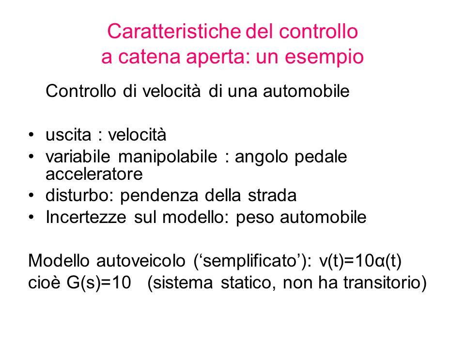 Caratteristiche del controllo a catena aperta: un esempio