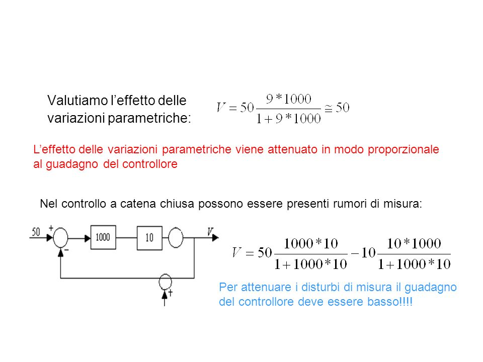 Valutiamo l'effetto delle variazioni parametriche: